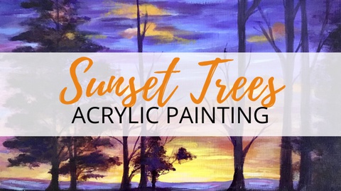 Colorful Sunset Trees Acrylic Painting - Blends & Details