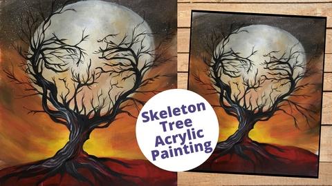 Skeleton Tree Acrylic Painting Class