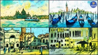 Watercolor Painting - Venice Pen and Ink Travel Sketching (Part 3)