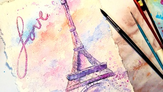 Watercolor with Me: Romantic Eiffel Tower