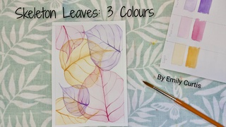 Watercolour Skeleton Leaves in 3 Colours - Step by step