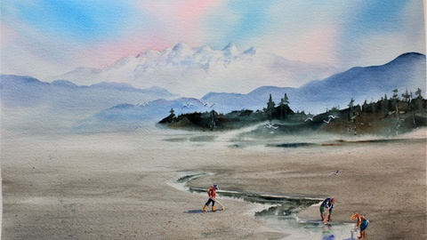 """Experience Watercolours """"Clam Diggers"""""""
