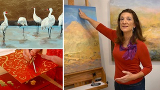 How to Gold Leaf & Acrylic Painting Ideas Over Gold Leaf