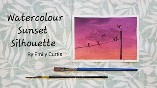 Easy Watercolour Sunset Silhouette - Step by Step