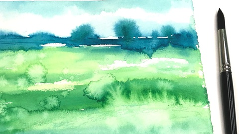 Simplified Abstract Landscapes in Watercolor