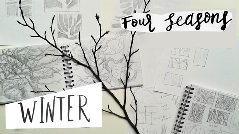 """""""Four Seasons"""": Winter. Learn Form and Structure by Drawing Trees"""