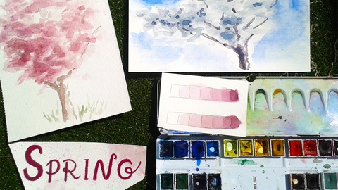 """""""Four seasons:"""" Spring. Learn Tones and Values by Painting Blossom"""