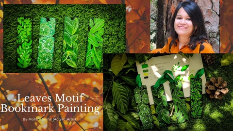 Leaves Motif Bookmark Painting